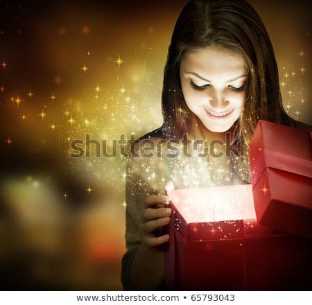 mooie · jonge · vrouw · kerstman · kleding · sneeuwvlokken · Blauw - stockfoto © -baks-