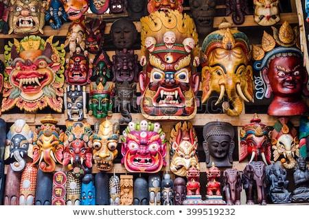 Colorido máscaras Nepal ver parede fundo Foto stock © bbbar