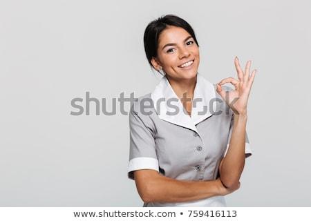 笑みを浮かべて メイド 女性の笑顔 女性 孤立した 白 ストックフォト © Kurhan