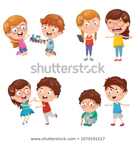 Jealousy in family, boy, girl and mother Stock photo © zurijeta
