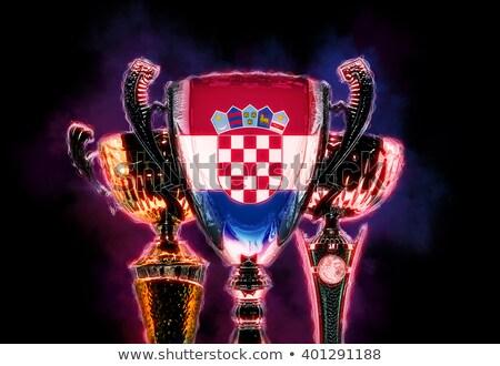 Trophée tasse pavillon Croatie illustration numérique Photo stock © Kirill_M