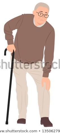 Idős férfi bot sérülés térd illusztráció Stock fotó © Kheat