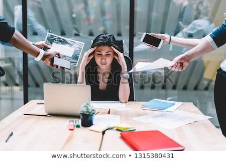 Túlhajszolt üzletasszony alszik laptop üzlet nő Stock fotó © dash