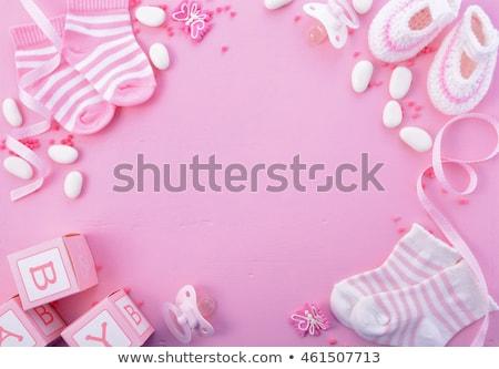 shabby chic baby girl shower card Stock photo © balasoiu