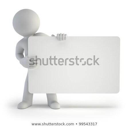 Stock fotó: 3d Small People - Empty Board