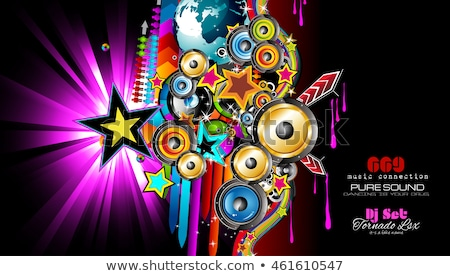 Stok fotoğraf: Club Disco Flyer Template With Music Elements Colorful Scalable Backgrounds