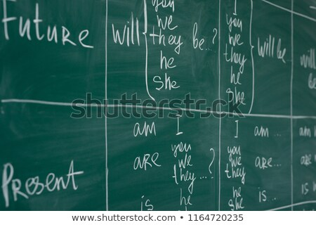 Stok fotoğraf: Okul · tahta · kelime · gelecek · ahşap · masa · eğitim