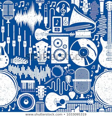 Retro style gramophone on pattern background Stock photo © bluering