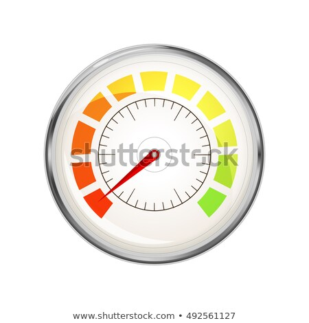 Performance measurement indicator with zero value, glossy metal speedometer icon Stock photo © Evgeny89