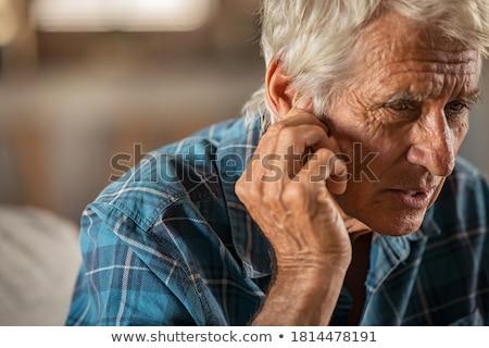 Stock fotó: Süket · idős · férfi · tart · kéz · fül