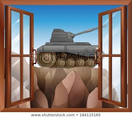 Otwarte okno widoku zbiornika ilustracja biuro Zdjęcia stock © bluering