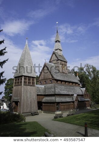 old stave church totally from wood in germany Stock photo © compuinfoto