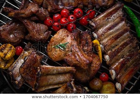 バーベキューグリル 実例 白 科学 肉 野菜 ストックフォト © bluering