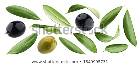 Photo stock: Olives · noires · feuille · olive · branche · bol · alimentaire