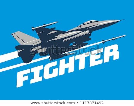Stock fotó: Repülőgép · repülőgép · sziluett · modern · vadászrepülő · égbolt