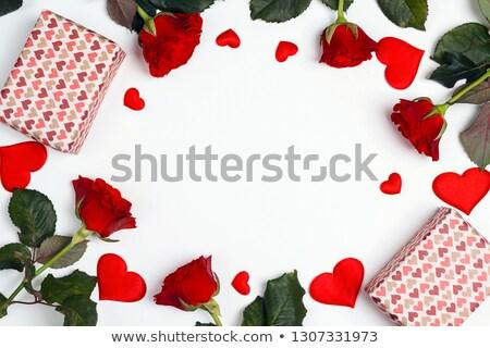 lugar · rosa · vermelha · isolado · branco · flores · jantar - foto stock © frimufilms