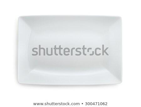 Witte rechthoekig plaat rand schone China Stockfoto © Digifoodstock
