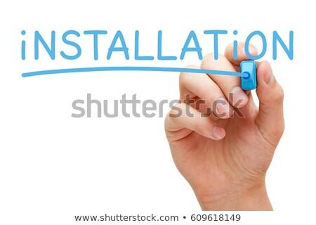 Installazione manoscritto blu marcatore mano iscritto Foto d'archivio © ivelin