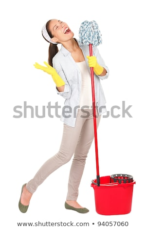 cabo · de · vassoura · isolado · branco · casa · limpar · escove - foto stock © elnur