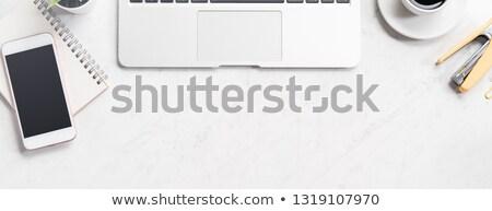 Mermer masaüstü modern hareketli dizüstü bilgisayar dizüstü bilgisayar Stok fotoğraf © tab62