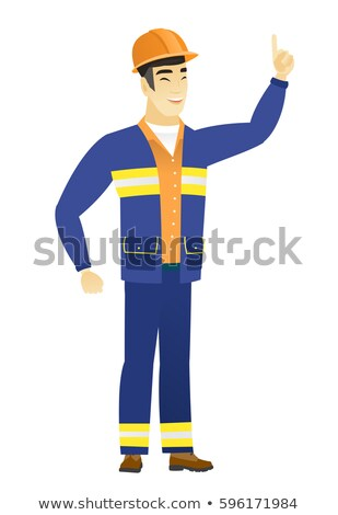 Asian builder pointing with his forefinger Stock photo © RAStudio