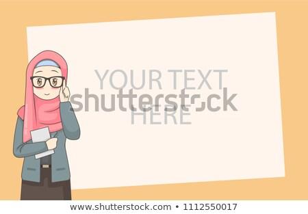 Mooie gezicht arabisch moslim vrouw hijab Stockfoto © NikoDzhi