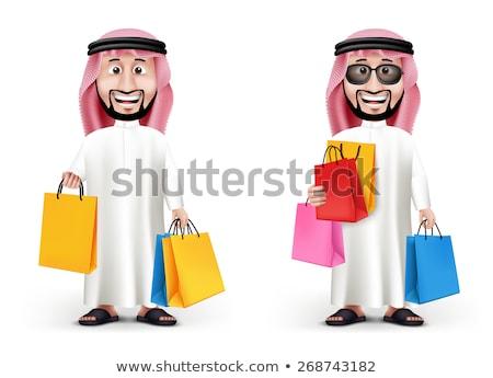 Arab business man with shopping bag. Vector cartoon illustration Stock photo © NikoDzhi