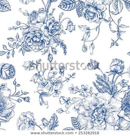 Bird blue seamless vector pattern. Stock photo © yopixart