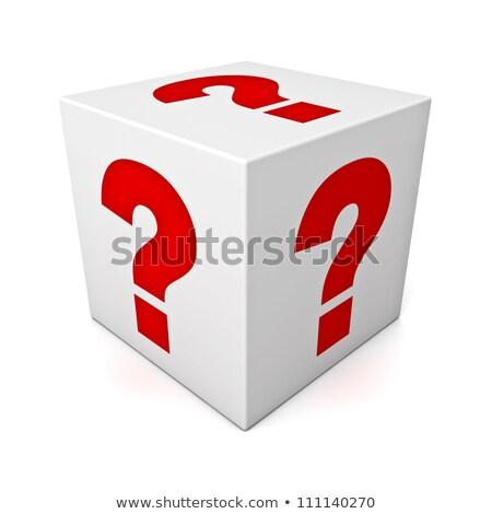 Punto di domanda rosso dadi uno faccia bianco Foto d'archivio © make