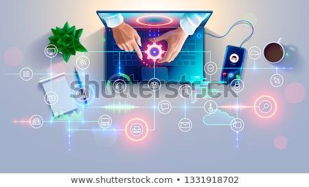 Remote servizio tecnologia due smartphone stringe la mano Foto d'archivio © make