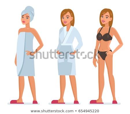 esbelto · mujer · blanco · ropa · interior · mujer · sonriente - foto stock © chesterf