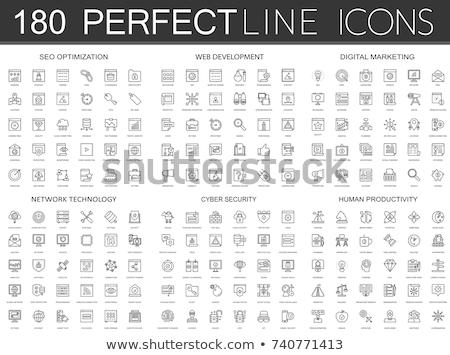 Foto stock: Digital · marketing · fino · linha · modelo · de · design · ícones