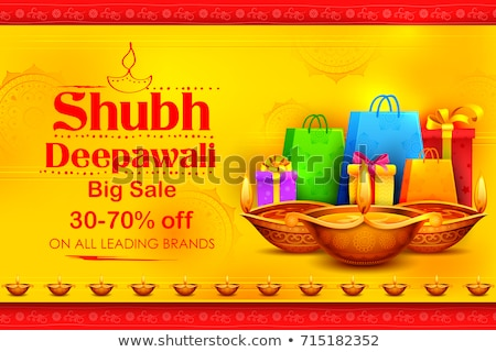 Stock photo: Burning diya on Happy Diwali Holiday Sale promotion advertisement background for light festival of I