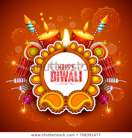 vector happy diwali background with festival crackers stock photo © sarts