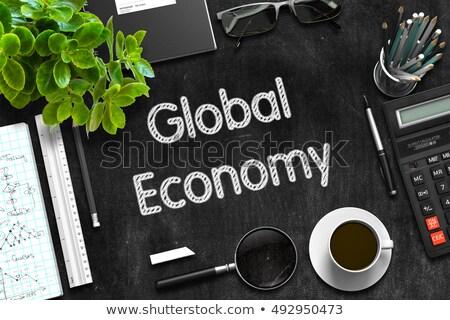 Globale economia nero lavagna 3D Foto d'archivio © tashatuvango