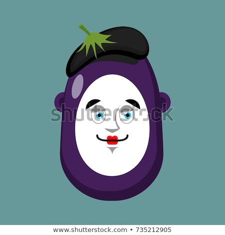 Eggplant mime avatar. Purple vegetable pantomime emoji. Vector i Stock photo © popaukropa