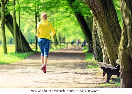 Woman runner running jogging in green summer park and woods Stock photo © blasbike