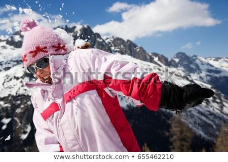 少女 ピンク 雪玉 子 雪 山 ストックフォト © IS2