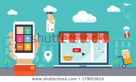 Ikon kosár online bolt virtuális ajándékok vásár Stock fotó © Olena