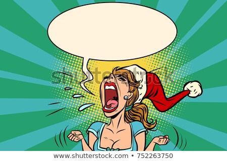 Foto stock: Panic Rage Anger Screaming Santa Girl
