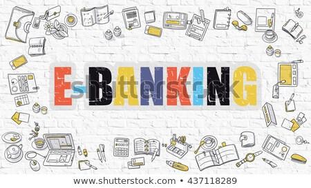 E-Banking Concept. Multicolor on White Brickwall. Stock photo © tashatuvango