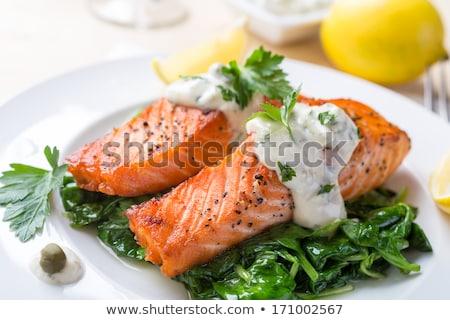 Saumon poissons cuit épinards crème bois Photo stock © M-studio