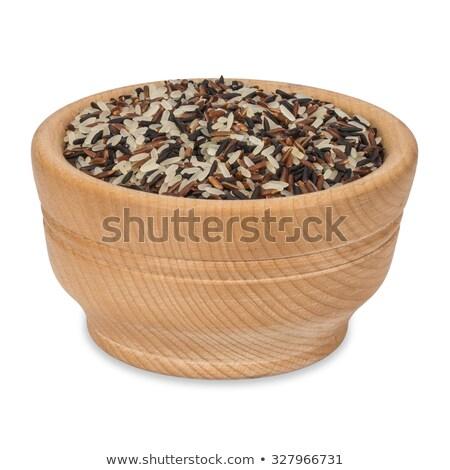 Tigela preto arroz cereal isolado alimentação saudável Foto stock © MaryValery