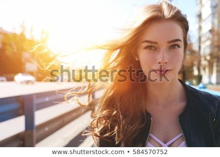 gyönyörű · nő · kint · napos · idő · hallgat · zene · város - stock fotó © 2Design
