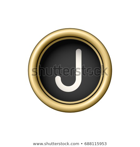 Brief vintage gouden schrijfmachine knop geïsoleerd Stockfoto © pakete