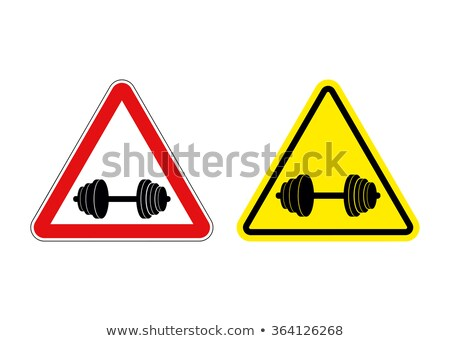 Attention fitness. Warning sign sport. Red and yellow road signs Stock photo © popaukropa