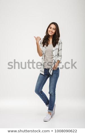 Obraz zadowolony kobieta ramię kieszeni Zdjęcia stock © deandrobot
