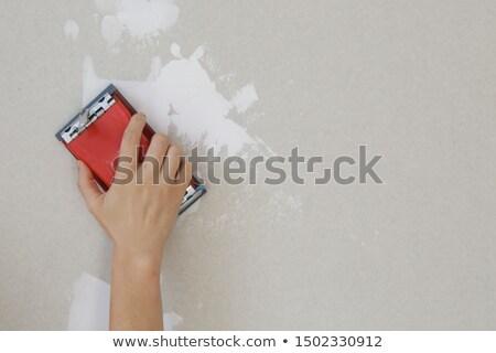 Rood muur reparatie oude ruw huishoudelijk werk Stockfoto © romvo