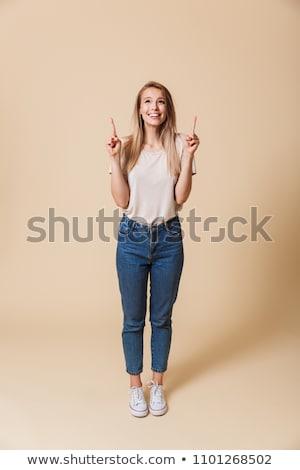 mutlu · gündelik · kadın · parmak · uzak · tam · uzunlukta - stok fotoğraf © deandrobot