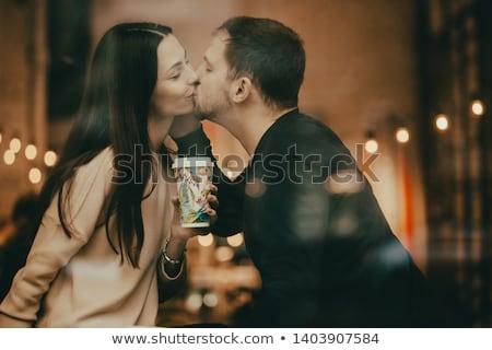 пару целоваться подоконник женщину мужчины чашку кофе Сток-фото © IS2